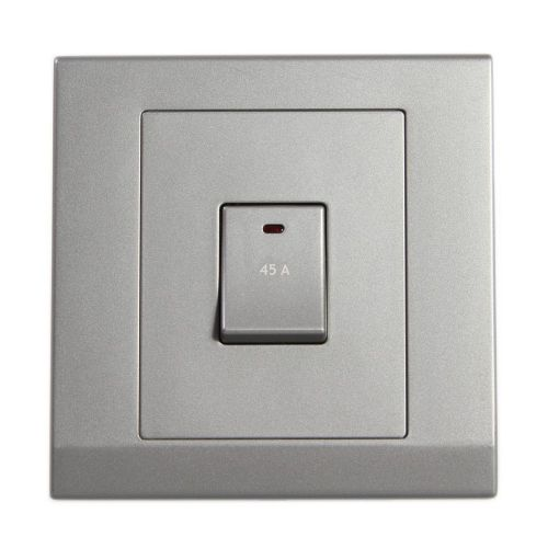 Simplicity Grey Screwless 45A DP Single Cooker Switch with Neon 07302